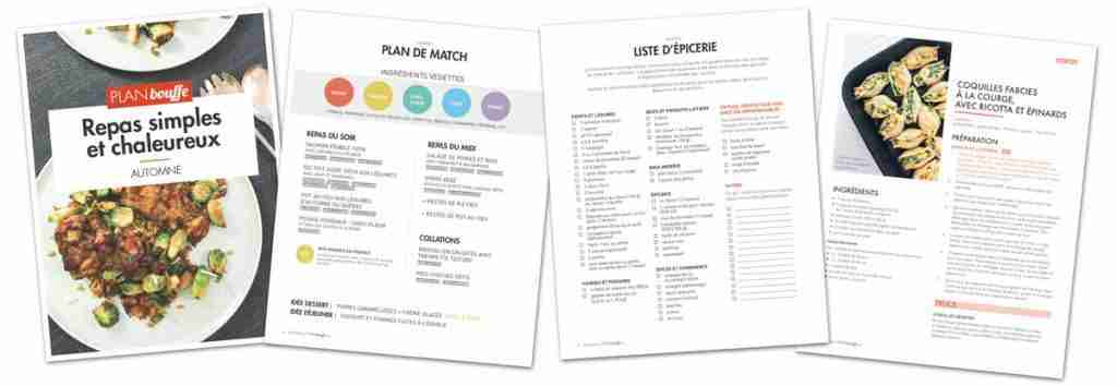 Menus de semaine - Apercu des menus d'automne