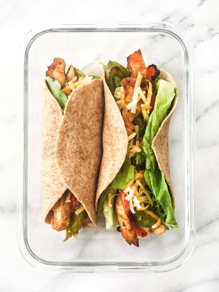 Recette meal prep - Lunch wrap style fajitas
