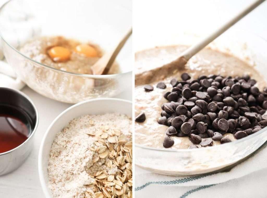 Recette de muffins bananes chocolat santé avec de l'avoine