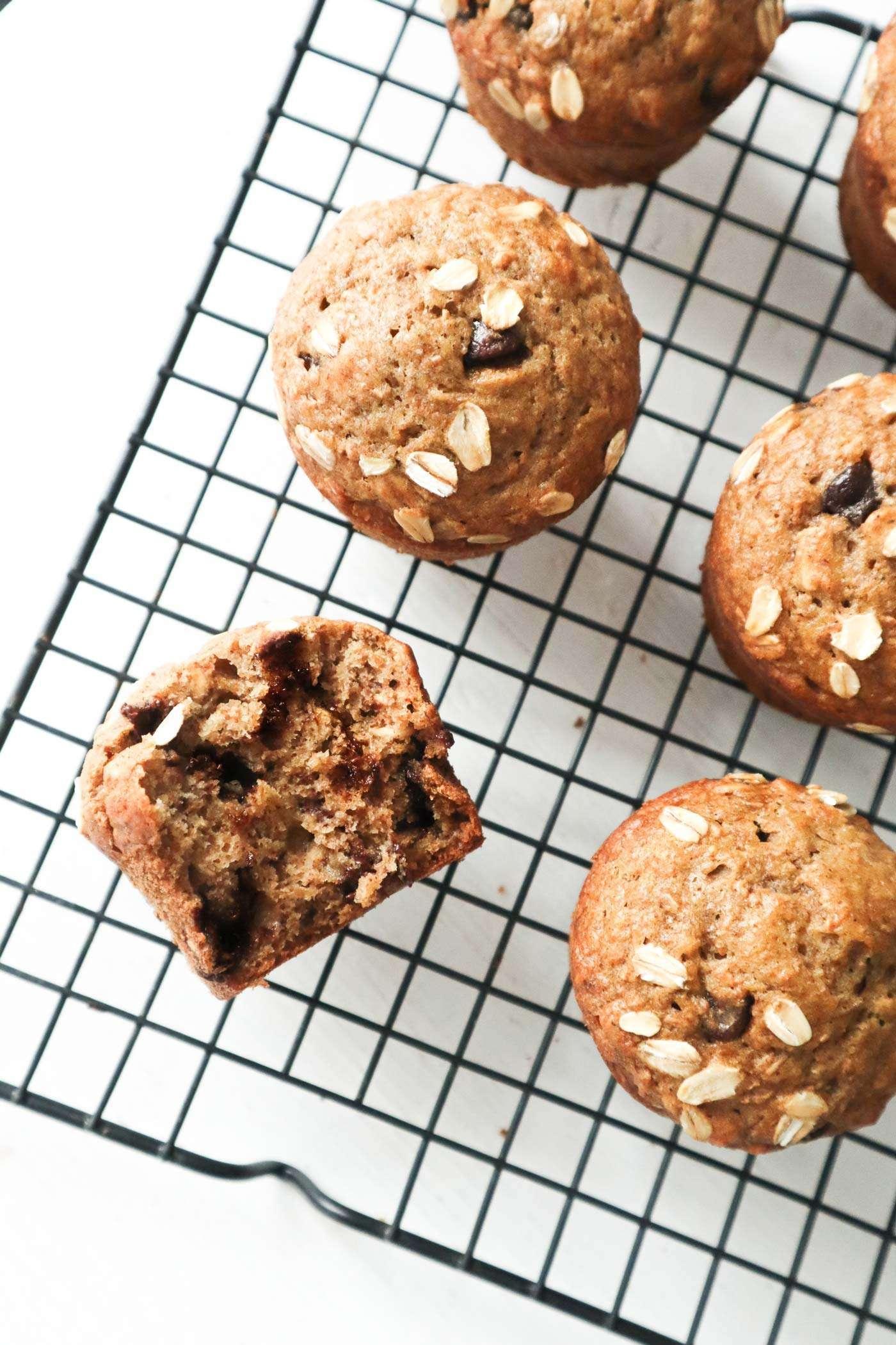 Muffins bananes chocolat santé (extra moelleux!) - PLANbouffe