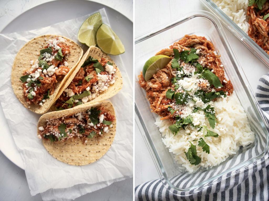 Tinga au poulet avec du riz ou en tacos - Recette meal prep pour les lunchs