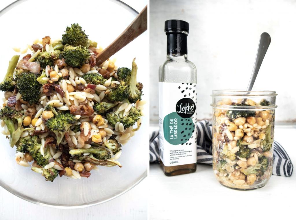 Salade de brocoli, bacon, échalotes, pois chiches et orzo - Recette meal prep pour les lunchs