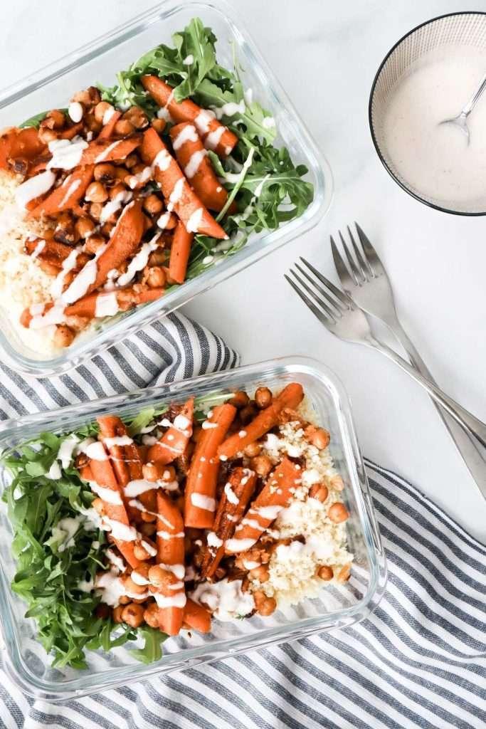 Lunchs de carottes et pois chiches au miel et aux épices